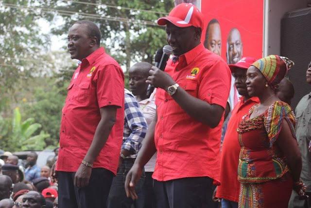 President Uhuru Kenyatta, DP William Ruto and Martha Karua in a rally, 2017