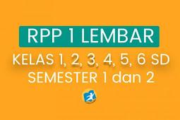 Kumpulan RPP 1 Lembar untuk SD Kelas 1 sampai 6 Semester I dan II Revisi 2020