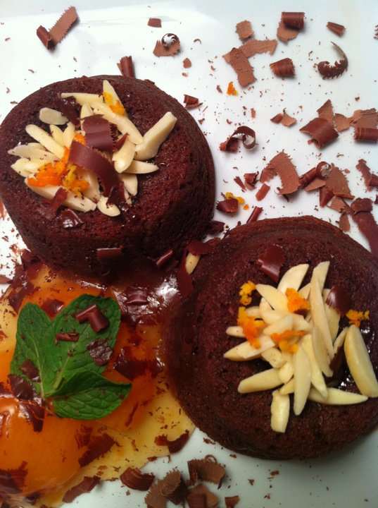 DINNER - by Dad: 'Spanish' chocolate lava cakes w/ apricot/orange