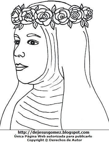 Dibujo del rostro de Isabel Flores de Oliva original para colorear o pintar  (Reconstrucción facial de Santa Rosa de Lima) . Imagen de Isabel Flores de Oliva hecho por Jesus Gómez