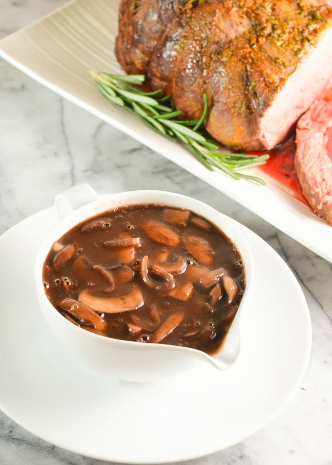 Mushroom Red Wine Gravy next to Sirloin Roast Beef recipe from Serena Bakes Simply From Scratch.