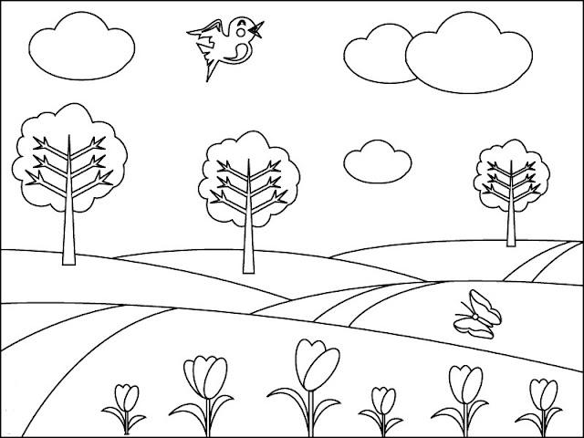 صورة شجرة للتلوين وأزهار للتلوين