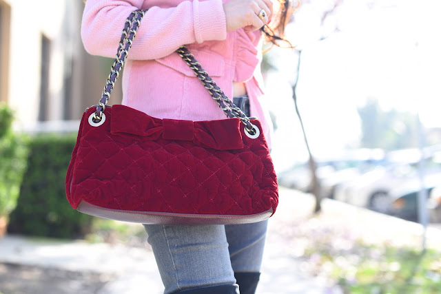 spring ruffles pink corduroy sweater gray paige denim berry velvet bow moschino handbag
