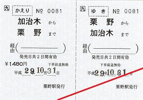 JR九州 肥薩線栗野駅 発着駅常備往復乗車券
