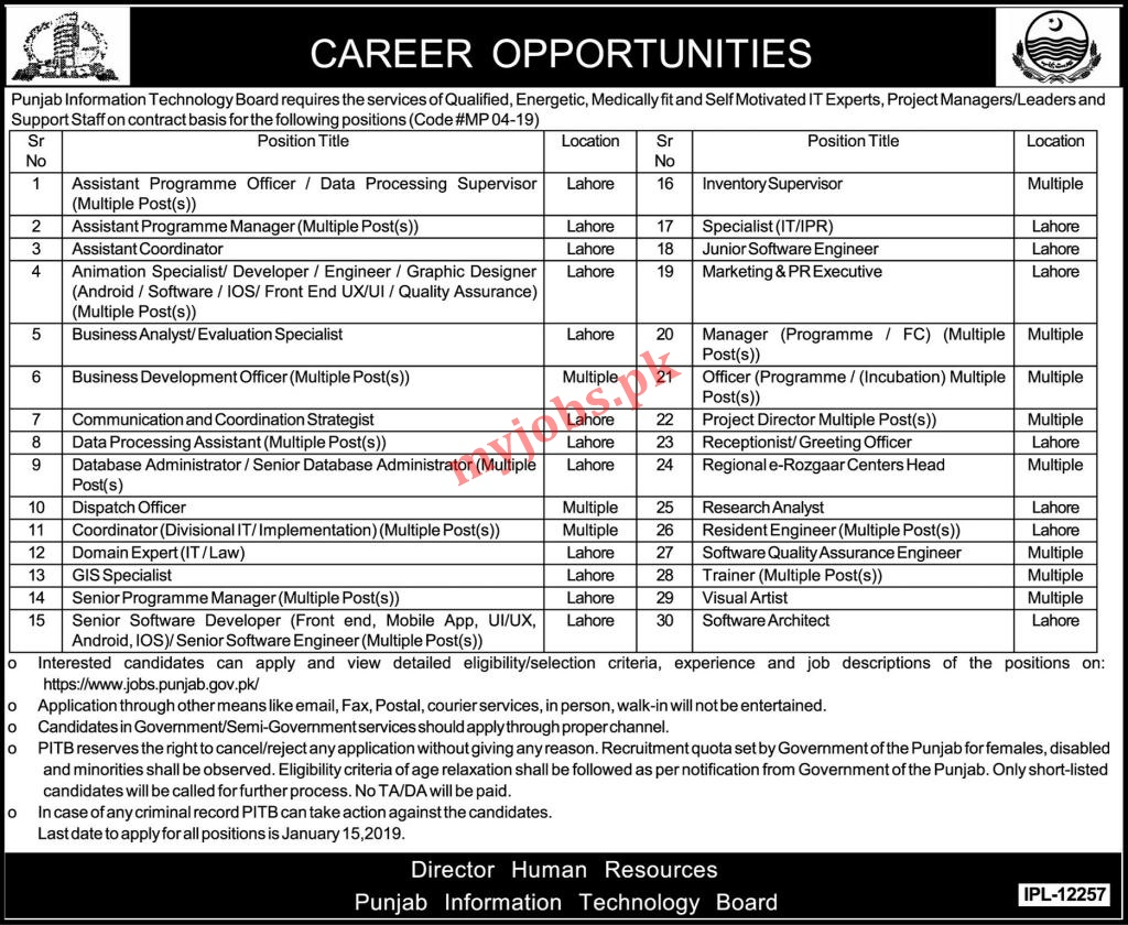Punjab Information Technology Board Career Opportunities 2020 I Free Apply Now
