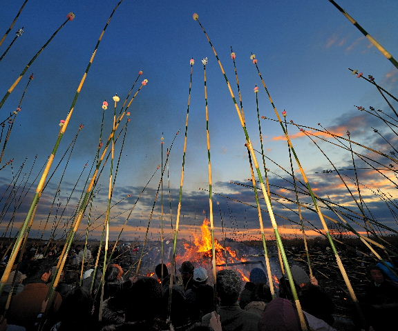 Takoage & Dondoyaki (Flying Kite & Fire Festival) at Tone River, Toride City, Ibaragi