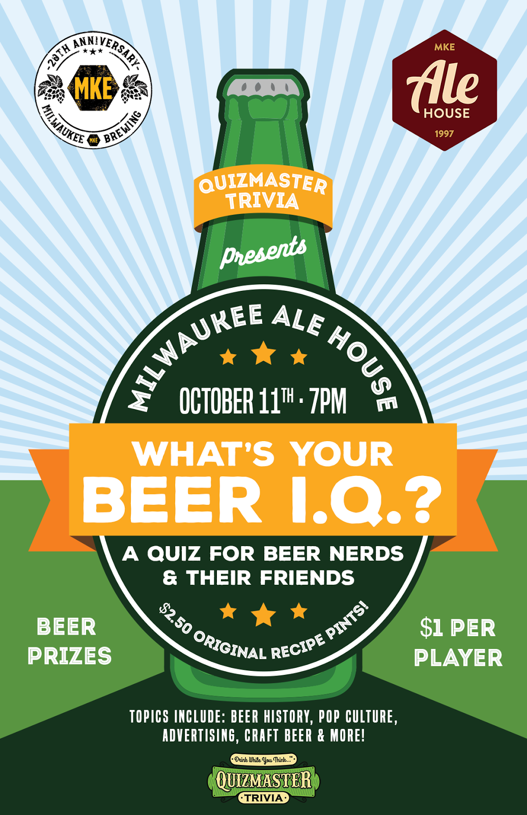 Join us on wednesday october 11th from 7 9 p m for a special beer quiz covering all kinds of topics including beer history beer in pop culture like