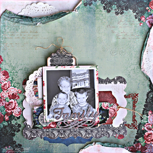 Family page featuring Love and Lace collection by BoBunny designed by Rhonda Van Ginkel Medium Page from Pages Three Ways