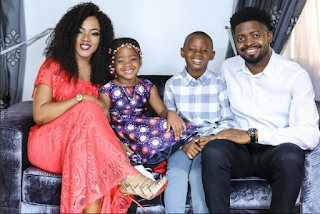 basketmouth, his wife and kids amy, janelle and jason