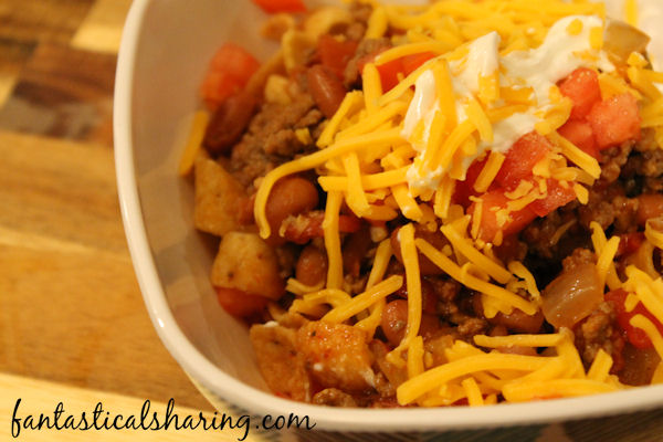 Copycat Petros // This is not just a Frito pie -- it's Knoxville's gourmet version and you have got to try it! #recipe #Petros #chili #onepot