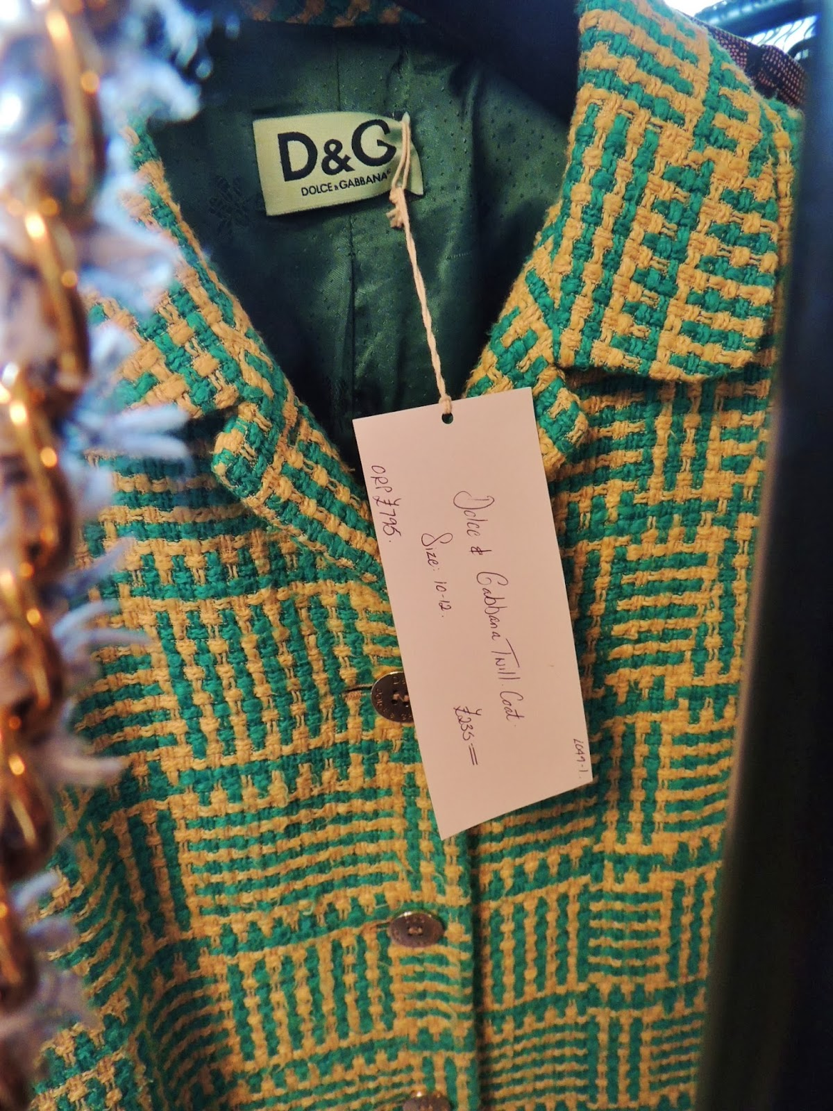 D&G twill coat in jade green and yellow