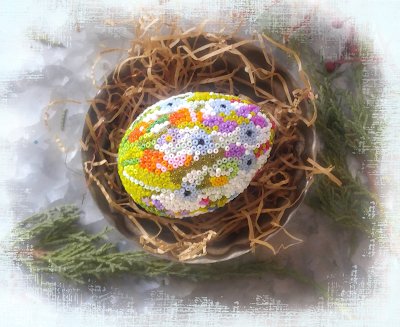 diy huichol style beaded seed bead egg Easter craft