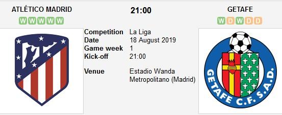 مشاهدة مباراة أتلتيكو مدريد وخيتافي بث مباشر 18/08/2019 الدوري الإسباني