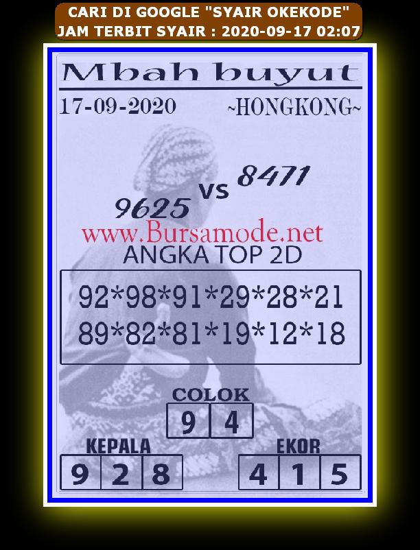 Kode syair Hongkong Kamis 17 September 2020 174