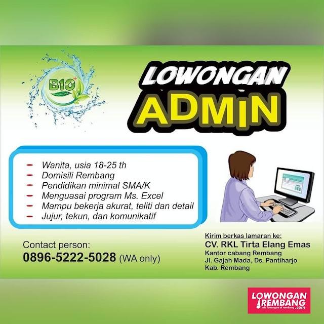 Lowongan Kerja Admin RKL Tirta Elang Emas Rembang