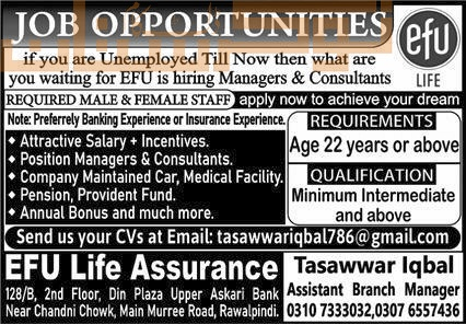 private,efu life assurance,manager, consultant male & female,latest jobs,last date,requirements,application form,how to apply, jobs 2021,