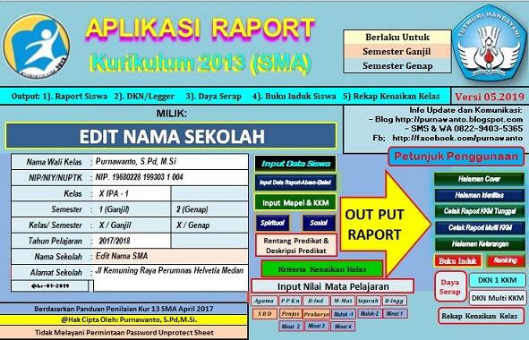 Blog Pengawas Sekolah Purnawanto Aplikasi Raport Kurikulum 2013 Sma Tahun 2019