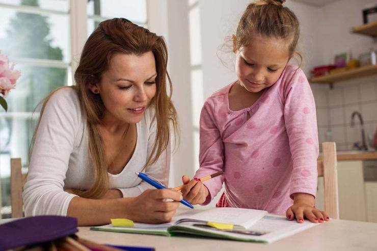 writing mum and child