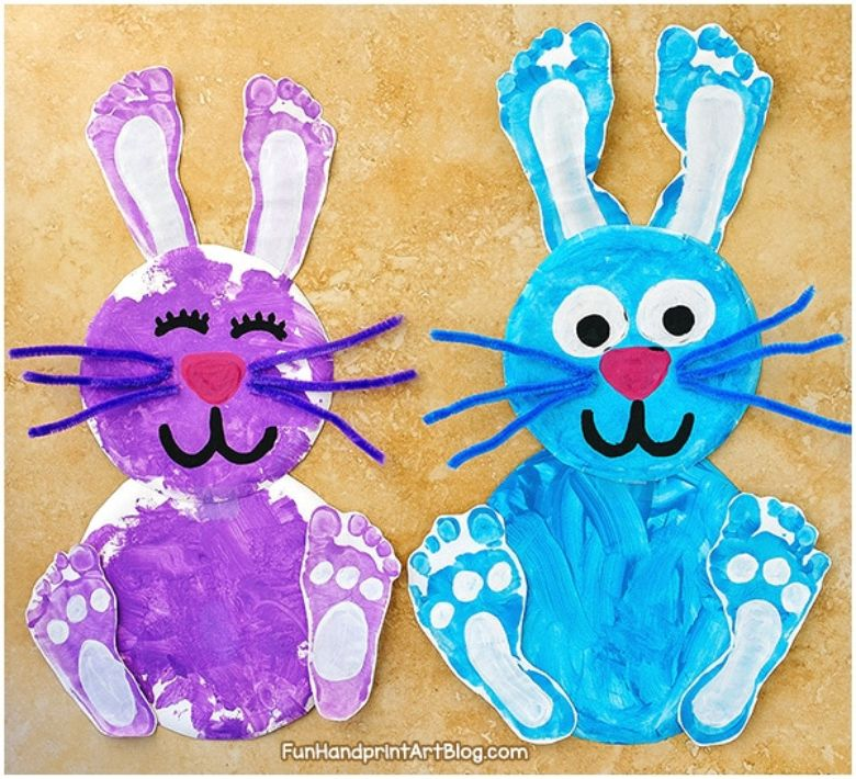 Easter crafts for preschoolers - Footprint bunny craft