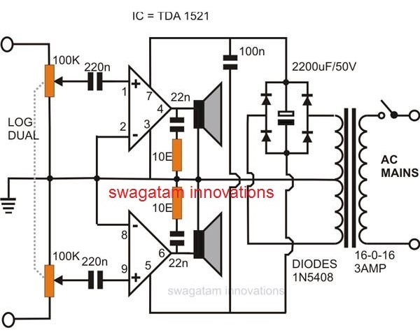 Simple Stereo Audio Amplifier Using IC 1521