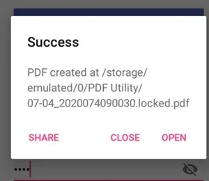pdf is password encrypted success message