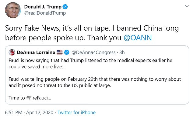 Trump retweets sack Fauci tweet