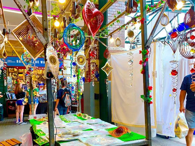 Sun catcher mobiles on a market stall in covent garden jubilee market
