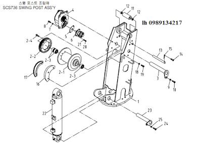 Trụ quay, xy lanh nâng cần, tời chính của cẩu soosan 6 tấn SCS615-SCS736-SCS736LII