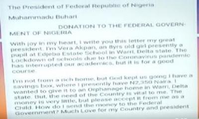 8-year-old Writes Buhari, Donates N2,350 To Fight COVID-19