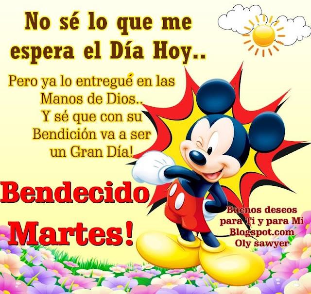 No sé lo que me espera el día de HOY... Pero ya lo entregué en las Manos de Dios... Y sé que con su Bendición va a ser un Gran Día!  BENDECIDO MARTES !