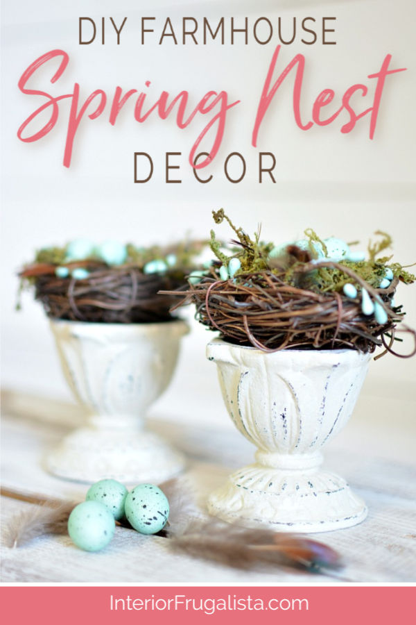 Farmhouse Spring Nest Decor on a budget with upcycled succulent pots and dollar store bird nest florals. A quick and easy Spring decor idea. #springdecor #springcraft