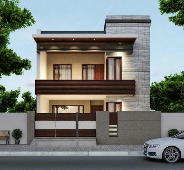 2-Story House with Minimalist Brick Fence