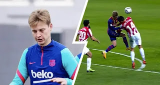 Pictures of Frenkie de Jong escaped bruise after horrible collision in Athletic clash