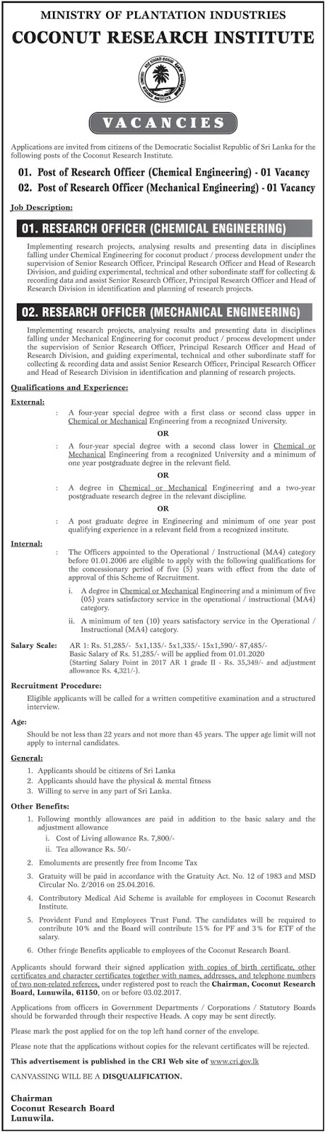 Research Officer (Chemical Engineering), Research Officer ...