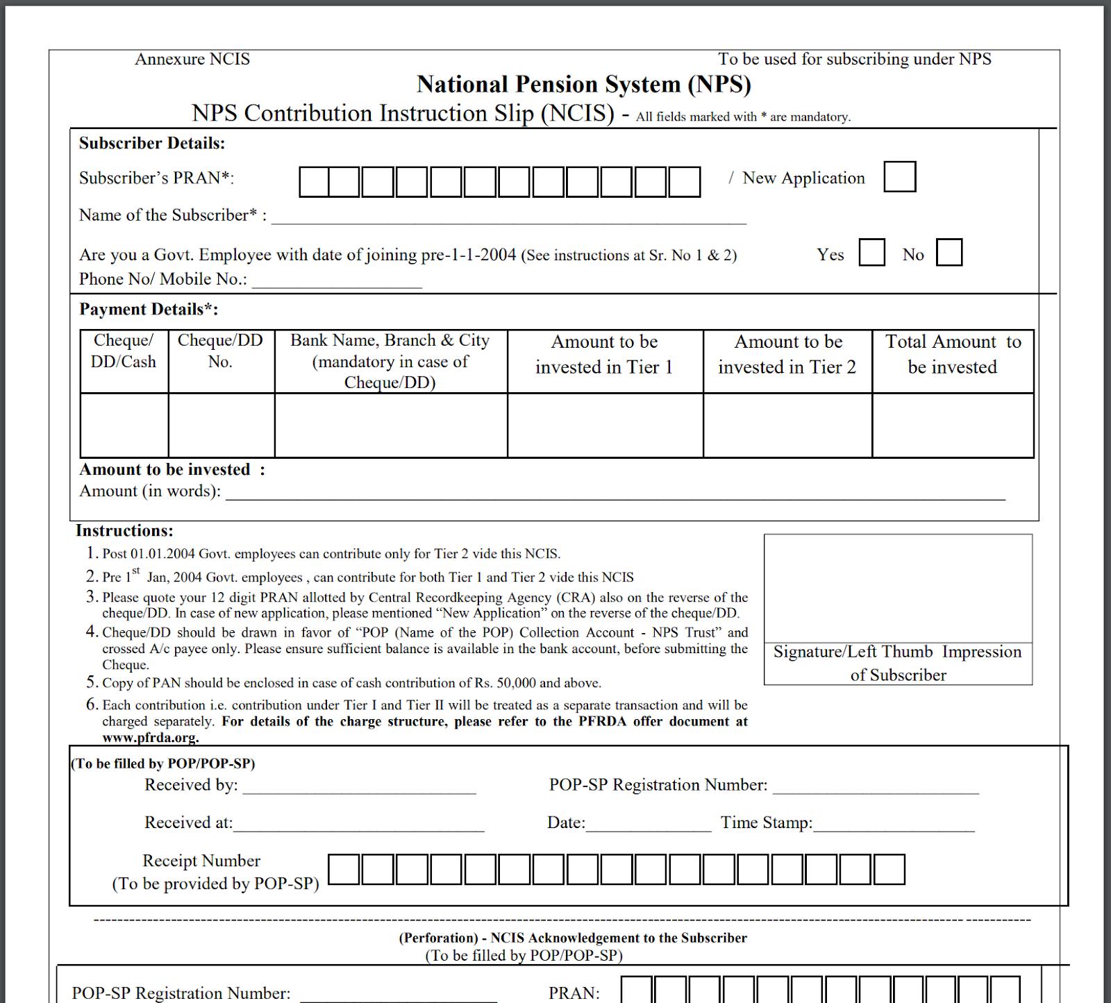 Screenshot of the NPS Contribution Instruction Slip (NCIS)
