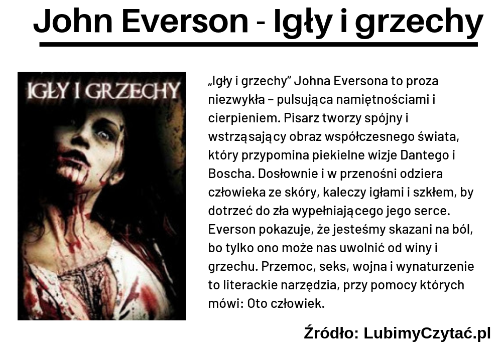 John Everson, Igły i grzechy, TOP 5, Marzenie Literackie