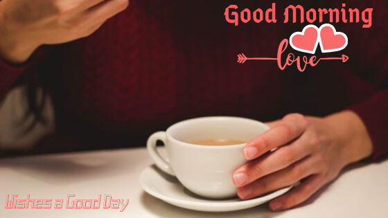 Good Morning  Image with cup  of milk tea.Good Morning  Images