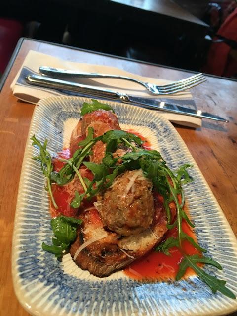 Jamie's Italian, Cardiff. meatball on brushetta