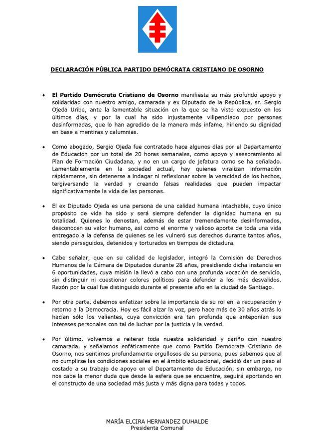 Declaración pública en apoyo a Sergio Ojeda