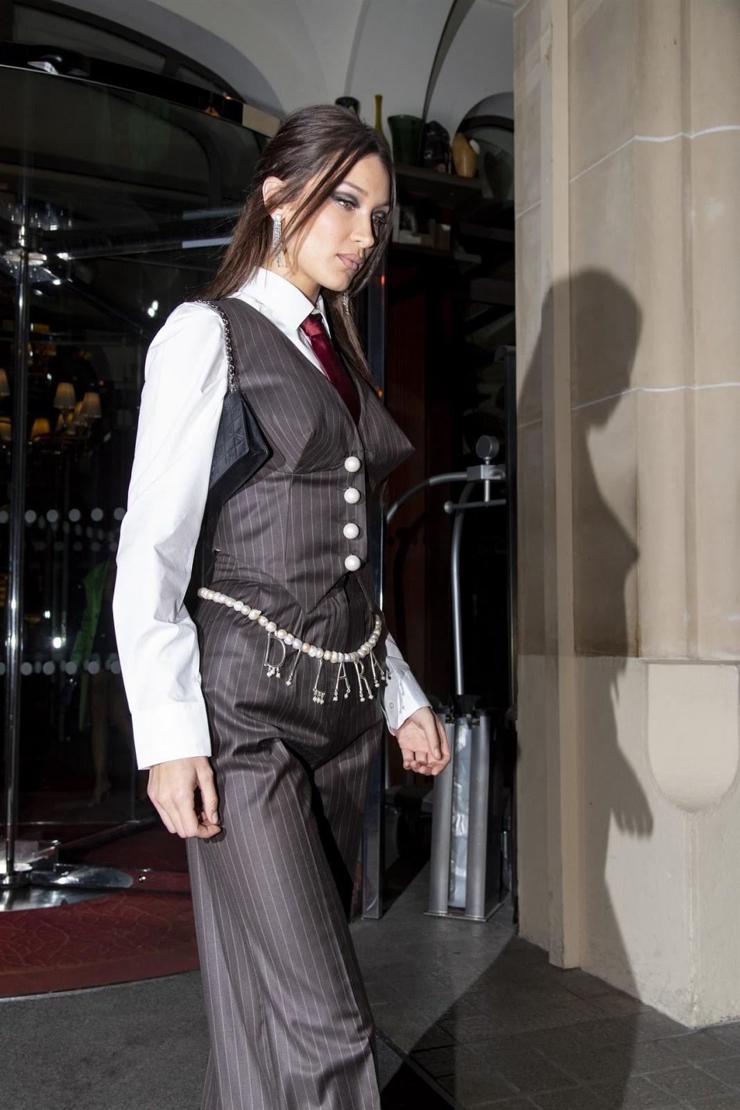 Bella Hadid in Pinstripe Suit - Vivienne Westwood After Party in Paris