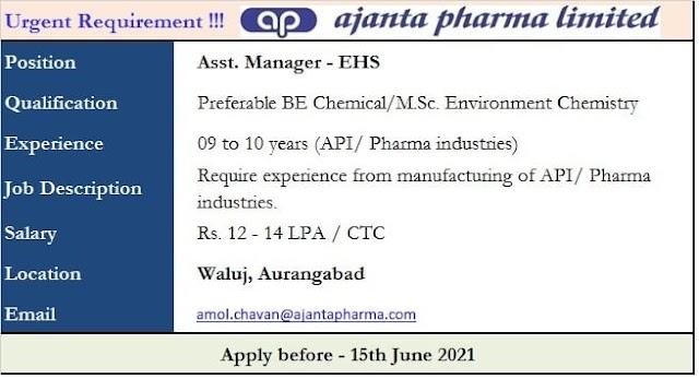 Urgent Requirement @ajanta pharma ltd. for Asst.Manager- EHS Apply Online