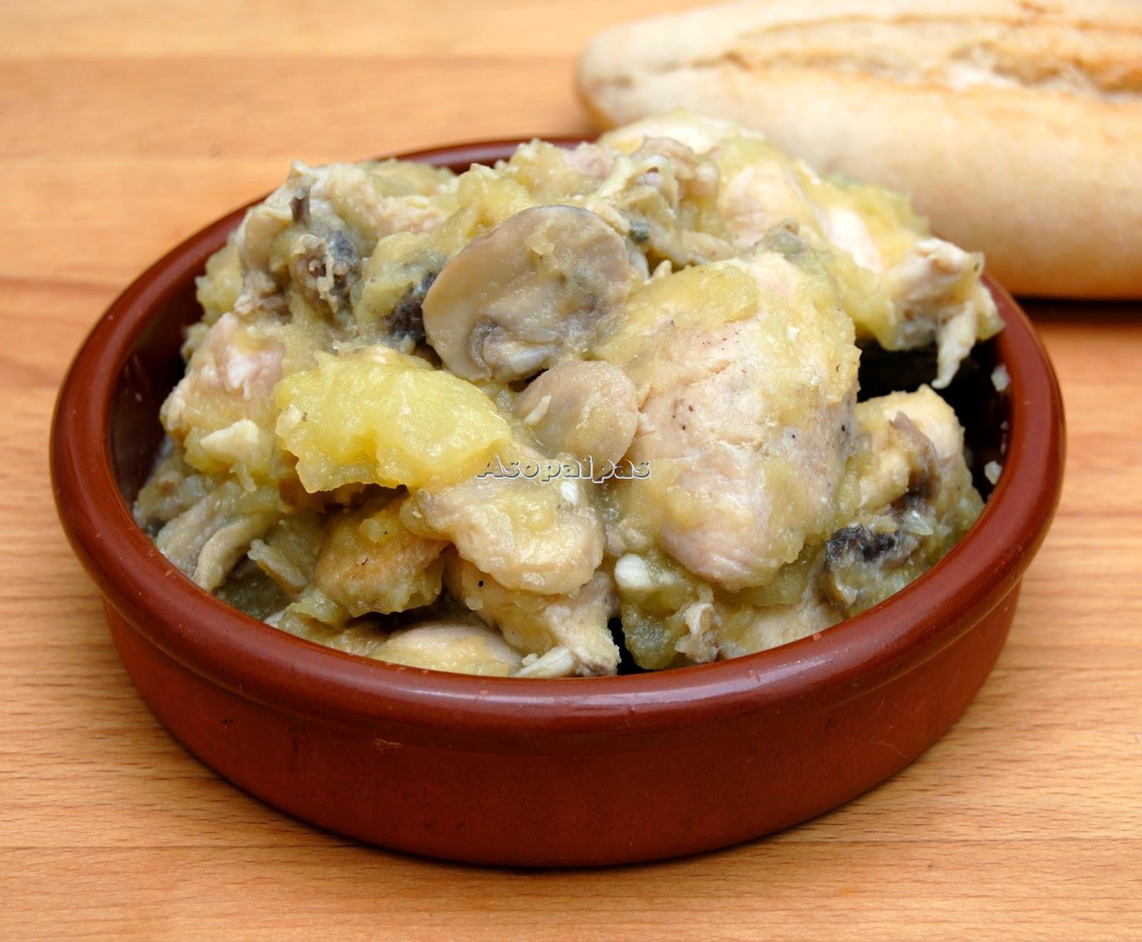 Pollo casero con Patatas y Champiñones