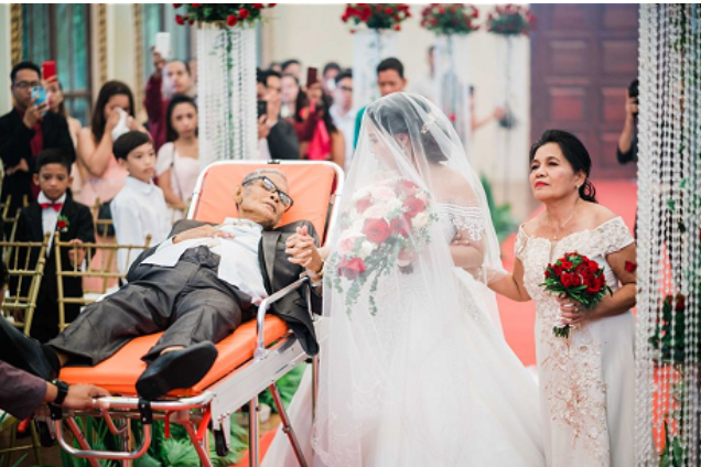 "Bedridden Dad ""Walks"" Daughter Down the aisle on her Wedding Day"