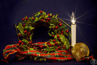 Cramer Imaging's professional quality fine art photograph of a Christmas wreath, candle, and ornament in Pocatello, Bannock, Idaho