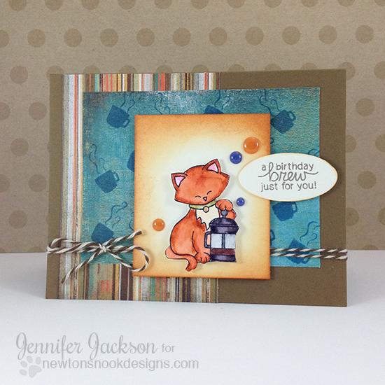 Birthday Cat And Coffee Card By Jennifer Jackson