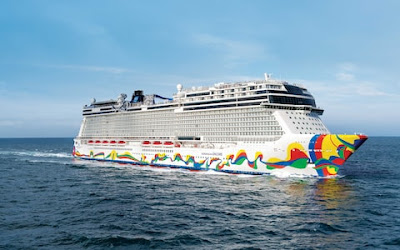 Norwegian Encore built by Meyer Werft Papenburg Germany arrives in NYC for Travle Agents and Media - now headed to Miami