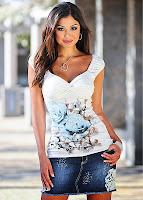 Bluză modernă cu imprimeu cu trandafiri