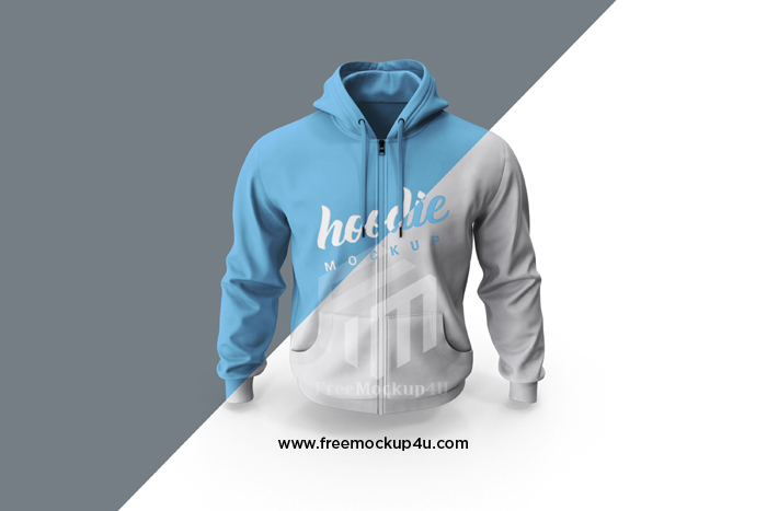 Close Up Hoodie Mockup Front View Isolate PSD