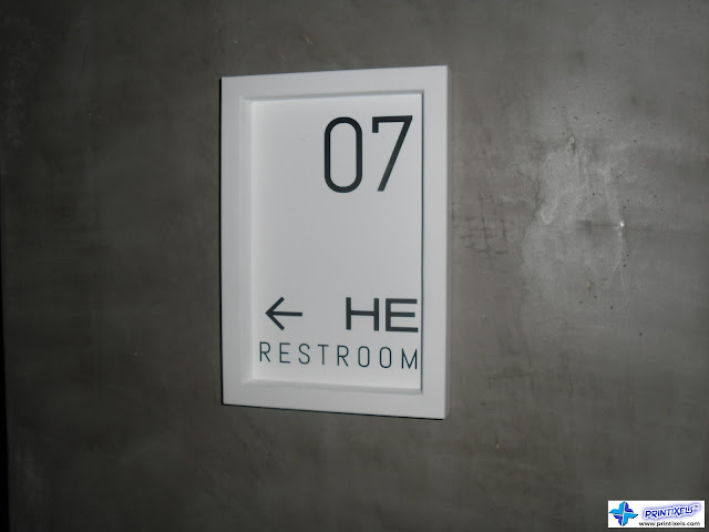 Die-Cut Vinyl Stickers - Restroom Arrow Sign