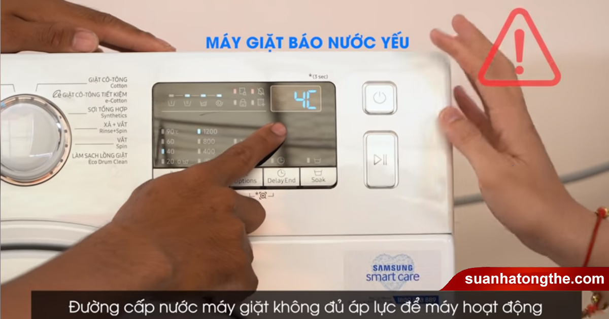 Đường cấp nước máy giặt không đủ nước